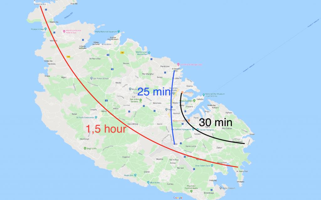 Distances to cross Malta